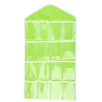 Wawawei 16 Pockets Over Door Underwear/Socks/Jewelry OrganizerHanging Hanger Closet Space Storage (green) #32228