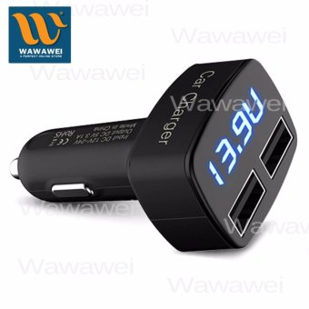 Wawawei CCG-531 5V 3.1V 4 in 1 Dual USB Port Phone Car Charger USBAdapter with LED Display Battery Voltage Current Temperature
