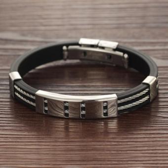 Wawawei Fashion Glamorous Silver Chain Titanium Silicone LeatherMen Bracelet with Free Camera Clip Lens - 3