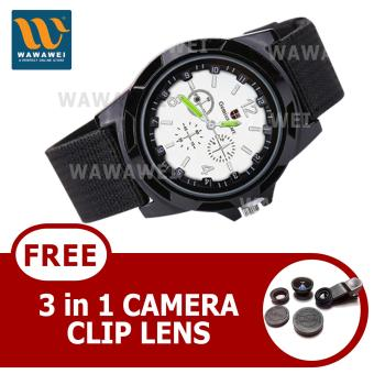 Wawawei GEMIUS ARMY Military Sport Style Army Canvas Strap Watch(Black/Silver) With FREE 3 in 1 Camera Clip Lens Price Philippines