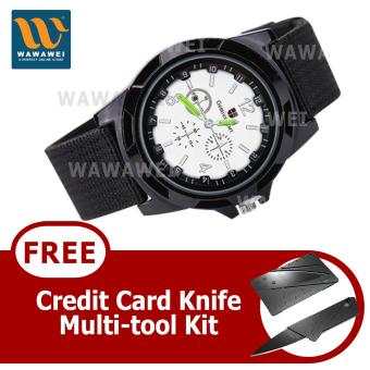 Wawawei GEMIUS ARMY Military Sport Style Army Canvas Strap Watch(Black/Silver) With FREE Credit Card Knife Multi Tool Kit Price Philippines