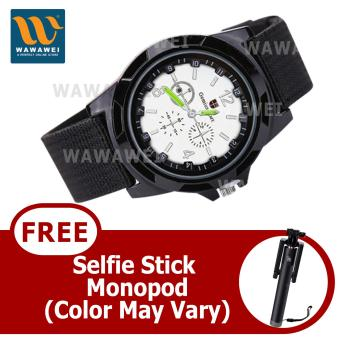 Wawawei GEMIUS ARMY Military Sport Style Army Canvas Strap WatchWith FREE Selfie Stick Monopod (Black/Silver) Price Philippines