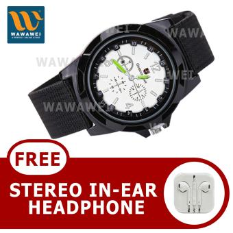 Wawawei GEMIUS ARMY Military Sport Style Army Canvas Strap WatchWith Free Stereo Earphone Color May Vary(Black/Silver) Price Philippines