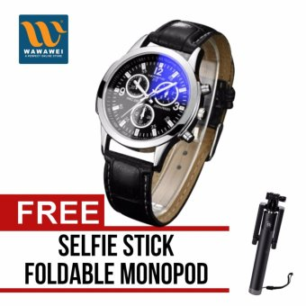 Wawawei Geneva Unisex Jasmine Women's and Men's Leather Strap WatchFashionable Casual (Black) with free Selfie Stick IntegratedFoldable Smart Shooting Aid Monopod Apple iPhone/All Smartphone(Color May Vary)