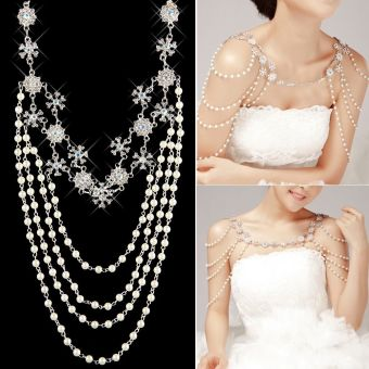 Wedding Bridal Crystal Rhinestone Pearl Shoulder Body ChainNecklace Jewelry - intl