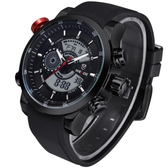 WEIDE Men Quartz Military Watch Analog Digital 3ATM Waterproof Rubber Strap Men Sports Watches WH3401 Silver Black - intl