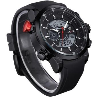 WEIDE Men Quartz Military Watch Analog Digital 3ATM Waterproof Rubber Strap Men Sports Watches WH3401 Silver Black - intl - 2