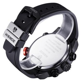WEIDE Men Quartz Military Watch Analog Digital 3ATM Waterproof Rubber Strap Men Sports Watches WH3401 Silver Black - intl - 3