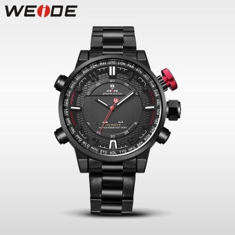 WEIDE Men Quartz Wristwatches Outdoor Sport Watch Stainless SteelStrap Alarm Clock Black - intl Price Philippines