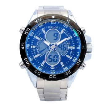 WEIDE WH-1103 Multi-Function Stainless Steel Analog + Digital WristWatch for Men (1 x SR626)-Blue Price Philippines