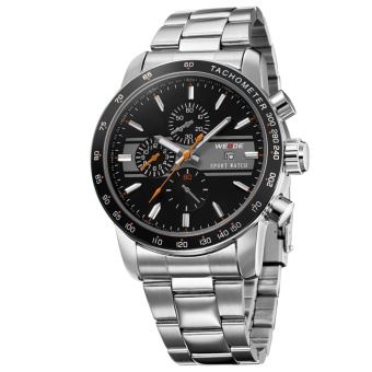 WEIDE WH-3313 Men's Fashion Stainless Steel Band 3ATM WaterproofQuartz Analog Watch With Calendar - Black + Orange + Silver (Intl) Price Philippines
