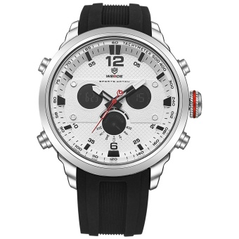 WEIDE WH6303 Outdoor Sports Waterproof Men's Silicone Strap WatchesSilver White - intl Price Philippines