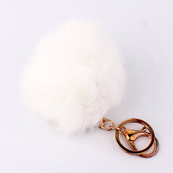 White Rabbit Fur Ball PomPom Cell Phone Car Keychain PendantHandbag Charm Key Ring