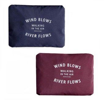 Wind Blows Folding Carry Bag (Navy Blue,Maroon) Set Of 2