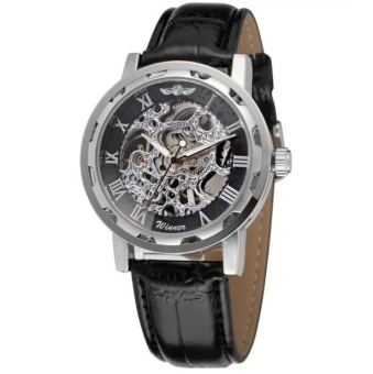 Winner Classic Men Automatic Mechanical Leather Straps Watch (Sliver) - intl