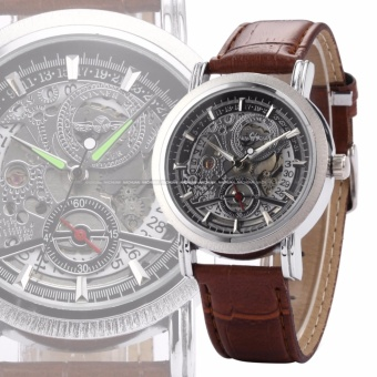 WINNER Classic Mens Skeleton Dial Automatic Mechanical Date Retro Brown Leather Watch PMW044 - intl - 3