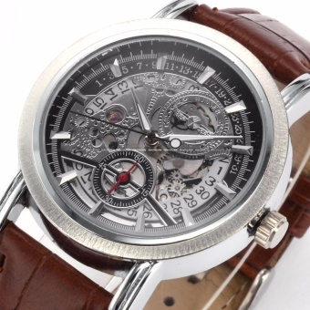 WINNER Classic Mens Skeleton Dial Automatic Mechanical Date Retro Brown Leather Watch PMW044 - intl - 2