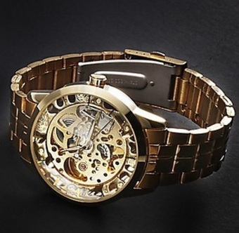 WINNER Mechanical Skeleton Men's Wrist Watch (Gold)