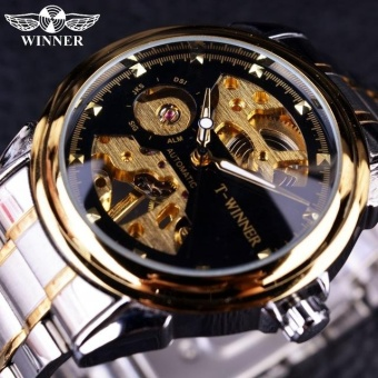 WINNER Men Gold Watches Automatic Mechanical Watch Male Skeleton Wristwatch Stainless Steel Band Luxury Brand Sports Design - intl