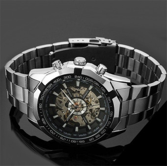 WINNER Men Skeleton Dial Automatic Mechanical Stainless Steel Watch(White) - 4