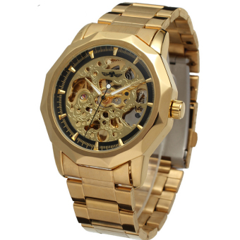 WINNER Mens Black Skeleton Automatic Mechanical Analog Fashion Sport Wrist Watch