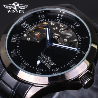 Winner Skeleton Mechanical Luxury Men Watch Black Waterproof Stainless Steel Fashion Casual Military Brand Sports Wristwatch - intl