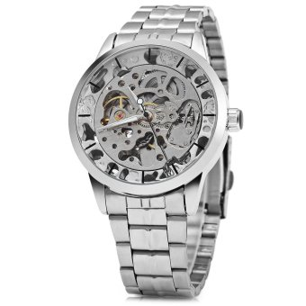 Winner W034 Automatic Mechanical Movement Hollow Out Men Watch Stainless Steel Band - intl