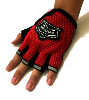 Wolf-Type Motor Protective Fingerless Gloves Red - 2