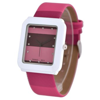 Womage New Sale Casual Women Blue Leather Strap Quartz Diamond Square Watch(Red)