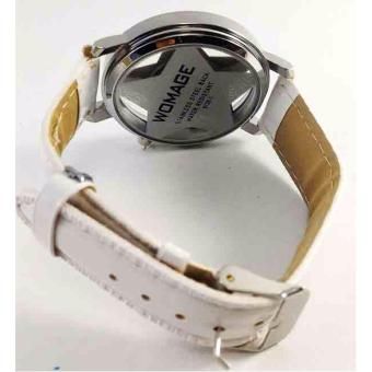 WoMage Star Faux Leather Strap Watch (White) - 3