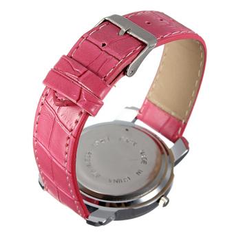 WOMAGE Women Rhinestone Rose PU Leather Wrist Watch - picture 2
