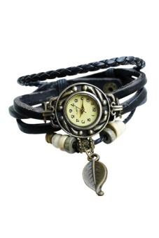 Woman Weave Warp AroLeather Bracelet Quartz Watch Black