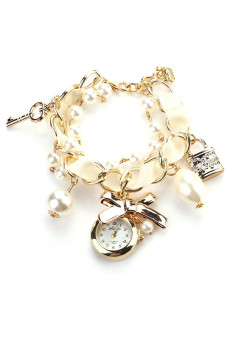 Women Artificial Pearl Bowknot Bracelet Wrist Watch - White