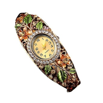 Women Bangle Crystal Flower Bracelet Quartz Watch Wristwatch - Gold - intl