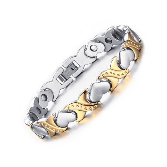 Women Bracelets Magnetic Health Care Heart Titanium Steel 18K GoldPlated For Gift Heart Design Charm Bracelets - intl