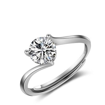 Women Classic 1ct Engagement Ring Solid 925 Sterling Silver JewelryProng Setting Solitaire CZ Ring Proposal Price Philippines