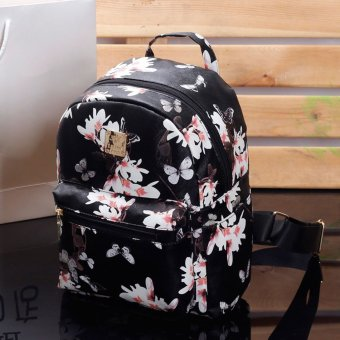 Women Cute School Bags Backpack Mini 2016 Fashion Back Pack FloralPrinting Black Small PU Leather Backpack For Teenagers Girls - intl