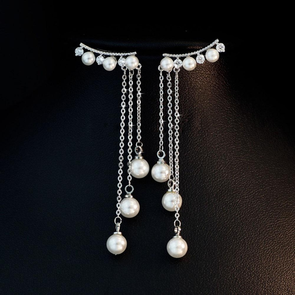 Women Fashion Trend Pearl Pendent Dangle Drop Earrings Tassel Ear Stud Gift Jewelry .