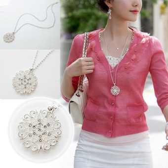 Women Hollow Flower Pendant Necklace Long Chain Sweater Necklace - intl