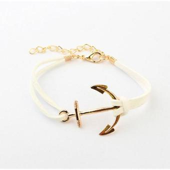 Women Leather Bracelet Rope With Shiny Metal Anchor PatternBracelet - intl