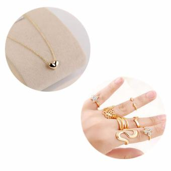 Women Platinum Love Hearts Pendant Chain Necklace+ 7pcs Rings(Gold) - intl