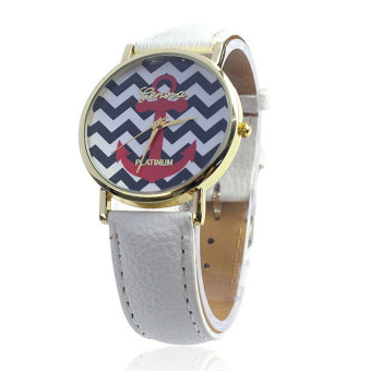 Women Quartz Boat Infinity Anchor Leather Wrist Watch White