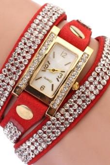 Women Rhinestones Quartz Bracelet Watch with PU Leather Band Red