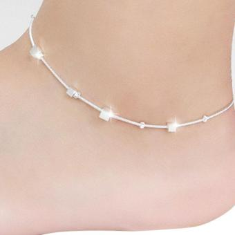 Women Silver Plated Chain Anklet Beads Ankle Bracelet for Foot Jewelry - intl
