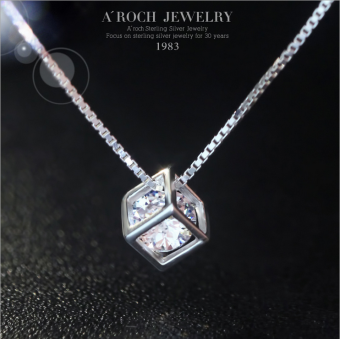 Women's Korean-style Silver Necklace with Square Diamond Pendant
