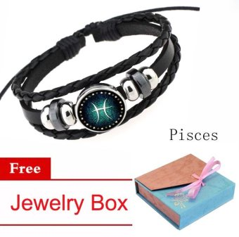 Women/Men 12 Zodiac Signs Pisces Charm Bracelet Beaded Bracelet Multi-Layers Leather Friendship Couple Bangle Constellation Bracelet - intl