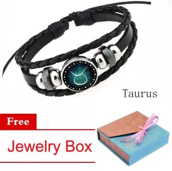 Women/Men 12 Zodiac Signs Taurus Charm Bracelet Beaded Bracelet Multi-Layers Leather Friendship Couple Bangle Constellation Bracelet - intl