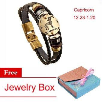 Women/Men Vintage Jewelry 12 Constellations Charm Bracelet CuffChain Capricorn Bracelet Multi-Layers Leather Couple Zodiac SignsFriendship Bangle Bracelet - intl