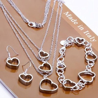 Women`s elegant 925 Sterling silver elegant Heart Necklace BraceletEarring Set Preciastore - intl