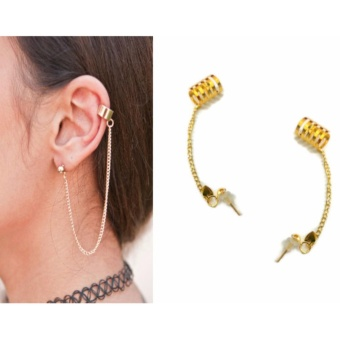 Women's Fashion Ear Cuff Clip Stud Chain Earrings 3g